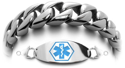 Rugged men's stainless steel medical bracelet