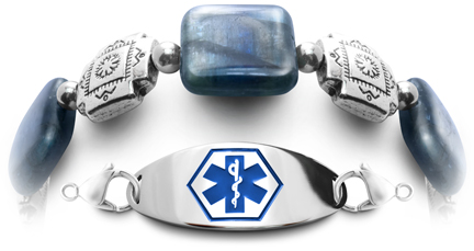 Blue Strata 0782 natural gemstone medical bracelet