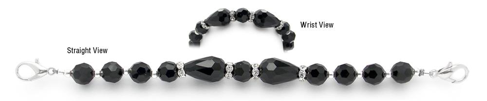 Designer Bead Medical Alert Id Bracelet Little Black