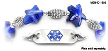Medical ID Bracelet 1533 Navy Sea Star Waves, Medical Bracelets