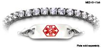 Stainless Steel and CZ Diamond Medical ID Bracelet 1746-SS Diamanti di Sophia, Medical Bracelets