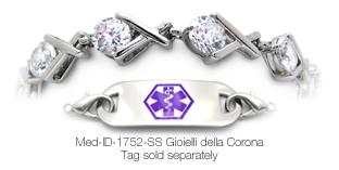 Diabetic Medical ID Fashions bracelet Med-ID-1752 Gioielli della Corona