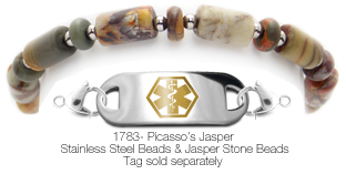 Beaded Jasper Medical ID Bracelet Picasso's Jasper 1783
