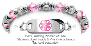 Beaded Stainless Steel and Crystals Medical ID Bracelet Blushing Woma of Steel 1933