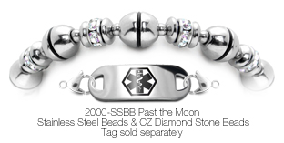 Beaded Stainless Steel Medical ID Bracelet Past the Moon 2000