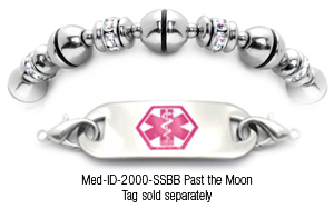 Beaded stainless steel bracelet with CZ diamond rhinestones - 2000 Past the Moon