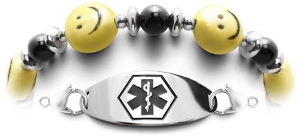 Smiley face medical bracelet