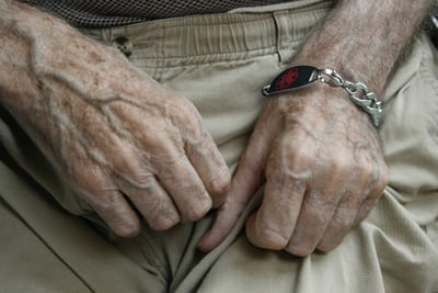 Alzheimer's bracelet on wrist