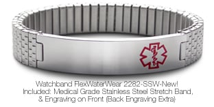 Satinless Steel Medical ID Bracelet Watchband FlexWaterWear 2282