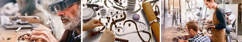 Artist making handmade medical bracelets