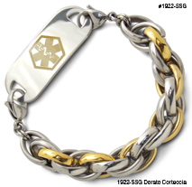 Medical ID Bracelet 1922-SSG Dorato Corteccia, Medical Bracelets