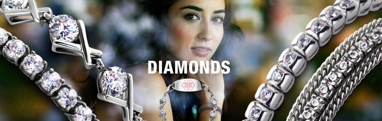 Diamond Medical Bracelets