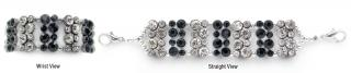 Designer Rhinestone Medical ID Bracelets Black Bling 1145