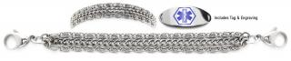 Designer Stainless Steel Medical Alert ID Bracelet Set Delizioso 21232