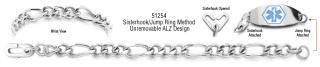 ALZ Unremovable Medical ID Bracelet Set Forte Lusso 51254