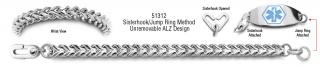 ALZ Unremovable Medical ID Bracelet Set Mistero Quadrato 51312