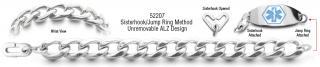 ALZ Unremovable Medical ID Bracelet Set Catena Dura 52207
