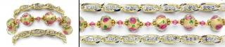 Designer Gold Medical Bracelet Set of 3 Hope Springs Pink Tri-Set 0881