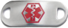 """Stainless Steel Medical ID Plate from Medical ID Fashions - Red colored """"Star of Life"""" symbol on Front"""