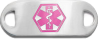 "Stainless Steel Medical ID Plate from Medical ID Fashions - Pink colored ""Star of Life"" symbol on Front"