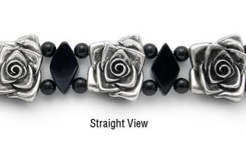 Designer Bead Medical Bracelets Silver Rose 0188