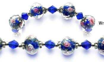 Designer Bead Medical Bracelets Pink Roses in Blue 0403