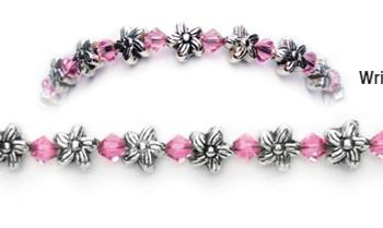 Designer Bead Medical Bracelets Flowers and Crystals 0420