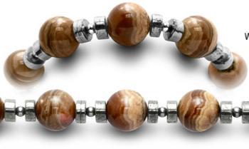 Designer Beaded Medical ID Bracelets Mocha Latte 0444