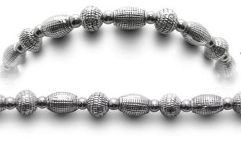 Designer Bead Medical Bracelets Silver Ribs 0538