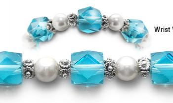 Designer Bead Medical Bracelets Fancy Aqua and White 0544