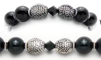 Designer Bead Medical Bracelets Black Herringbone 0582
