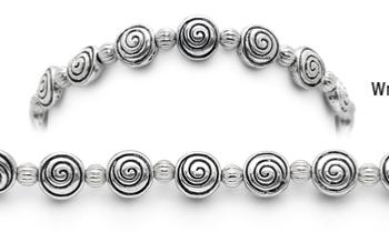 Designer Bead Medical Bracelets Swirly Fun Silver 0588
