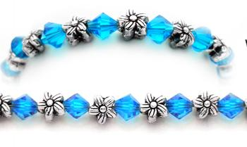Designer Bead Medical Bracelets Silver Flowers 0596