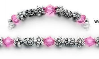Designer Bead Medical Bracelets Floral Medley in Pink 0606
