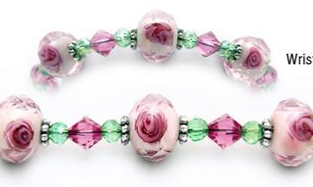 Designer Bead Medical Bracelets Rose Blossoms in Blush 0667