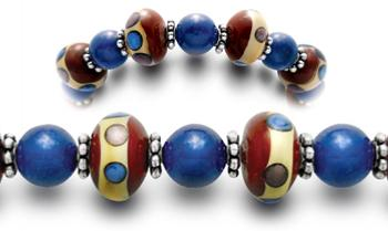Designer Bead Medical Bracelets Red Wine Blue Moon 0671