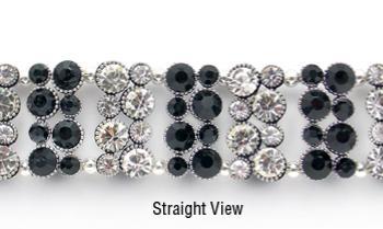 Designer Rhinestone Medical ID Bracelets Black Bling 1145