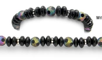 Designer Bead Medical Bracelets Black Rainbow 1524