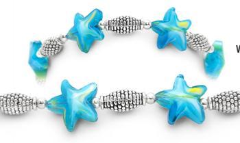 Designer Bead Medical Bracelets Aqua Sea Star Waves 1532
