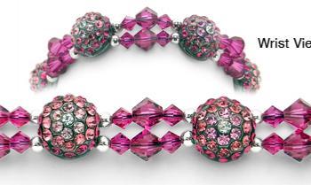 Rhinestone Medical Bracelets Delightful Domes-Violet 1878