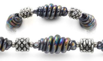 Designer Bead Medical Bracelets Glazed Coil Sculpture 1900