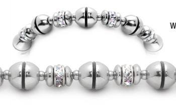 Designer Stainless Rhinestone Bead Medical Bracelets Past the Moon 2000
