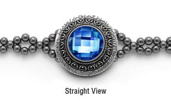 Designer Rhinestone Medical Bracelets Mirror Mirror-Blue 2060
