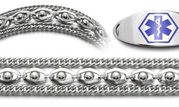 Designer Stainless Medical ID Bracelet Set Sofisticato 20647