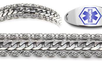 Designer Stainless Medical ID Bracelet Set Massimo 21239