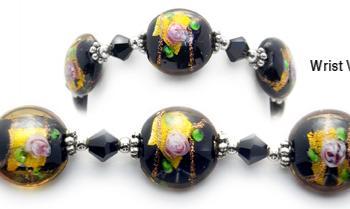 Designer Bead Medical Bracelets Enclosed Rose 9001