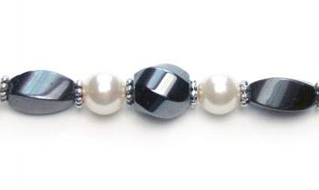 Designer Bead Medical Bracelets Twisted in White Pearl 0277