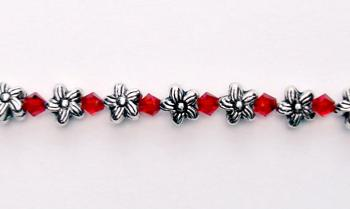Designer Bead Medical Bracelets Silver Flowers Small Red Crystals 0364