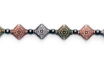 Designer Bead Medical Bracelets Diamond Tri-Flower 0366
