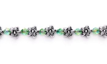 Designer Bead Medical Bracelets Flowers and Small Crystals 0368